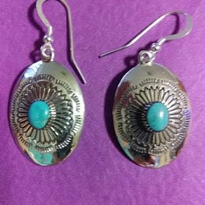 Nwt!Sterling and turquoise earrings 1 3/4 inch